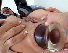 Angelina gets her asshole plugged with an enormous transparent butt plug. The gape that is left wide open after she plug is pulled out is insane... Angelina creeps away to she toilet where another surprise is waiting...