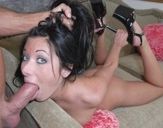 Gorgeous dark babe mega hotty loves getting her throat savagely banged