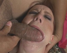 small and pretty redhead cries as she gets her slimey throat banged open