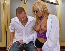 Amy gets her patient rock hard by engulfing his solid cock