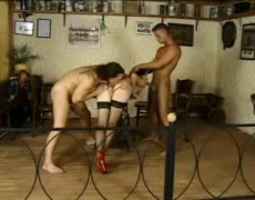 Leda Paris double penetrated by two muscular men and swallows their howling loads